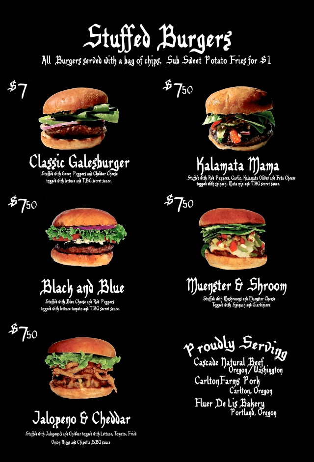 Burger guild menu