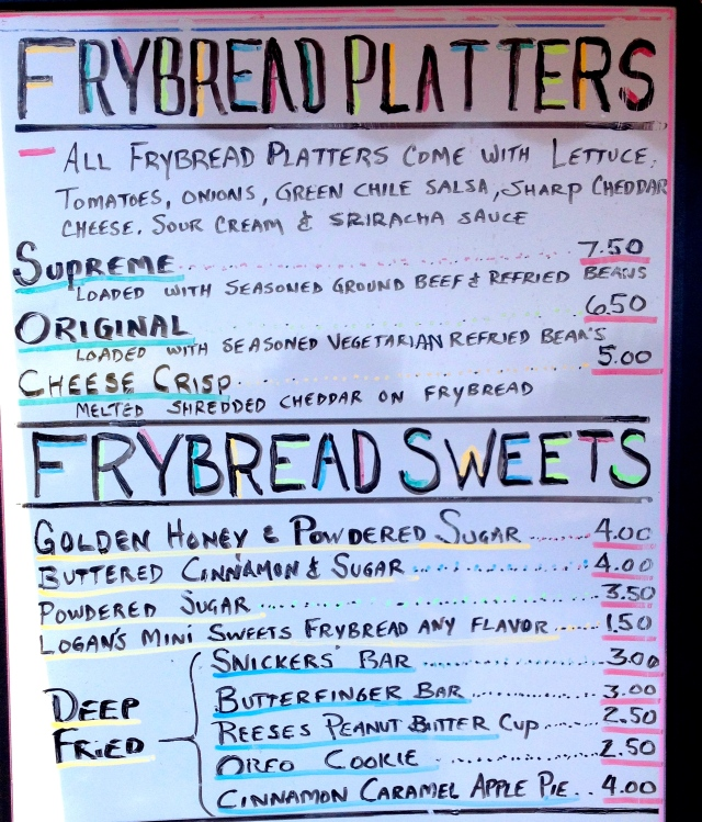 Fry Bread menu