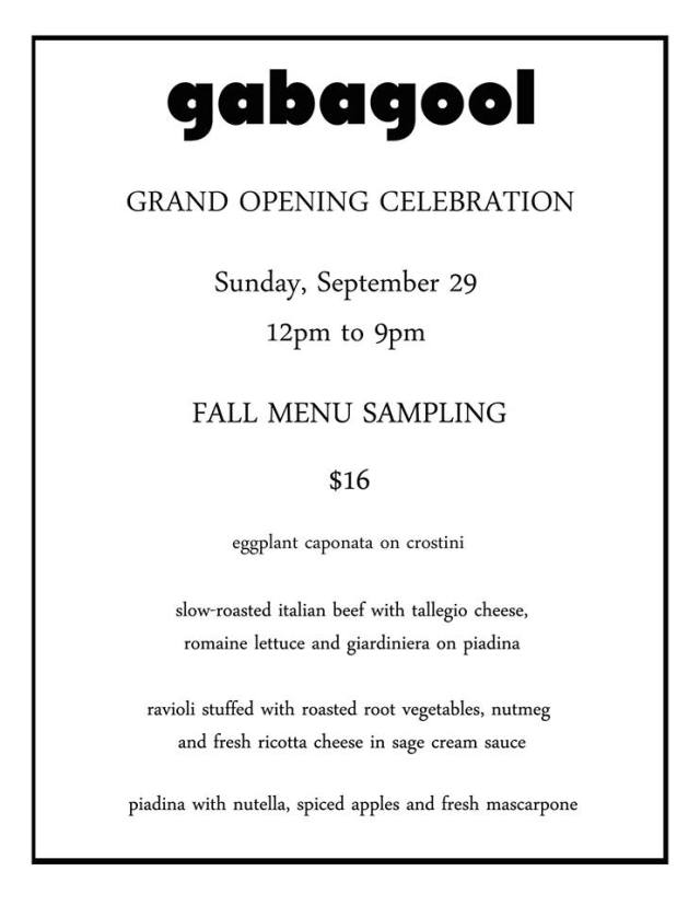 Gabalgool Grand Opening menu