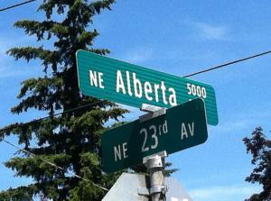 23rd and Alberta Street Sign May 2014